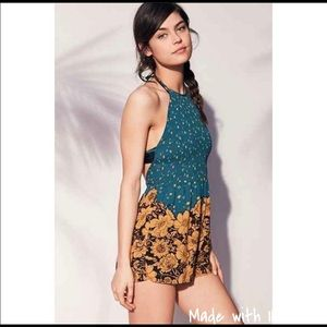 UO our from under L romper smocked backless